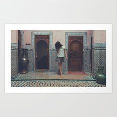 I was certain that she still stood in the doorway watching me as I walked away Art Print