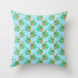 Tropical Leaves and Pineapples on Blue Throw Pillow
