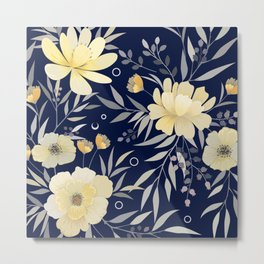 Modern, Floral Prints, Yellow and Navy Blue Metal Print