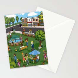 A Digital Day at the Fountain Stationery Cards