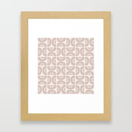 Groovy Mid Century Modern Pattern 731 Beige Framed Art Print