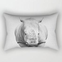 Rhino 2 - Black & White Rectangular Pillow