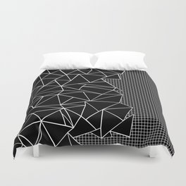 Abstract Grid Outline White on Black on Side Duvet Cover