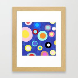 Marine Blue Watercolour Happy Circles Framed Art Print
