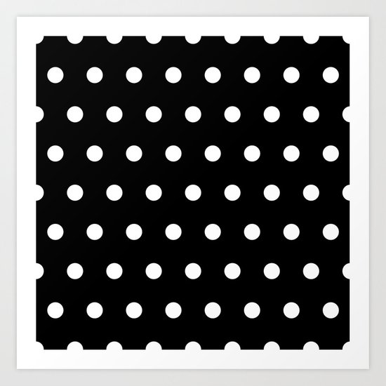 Dots on black Art Print