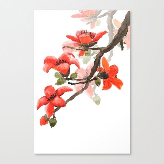 red orange kapok flowers watercolor Canvas Print