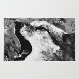 Watercolor Wolf Howl (Black and White) Rug
