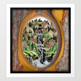 VILLAGE AND WATERFALL PEN DRAWING FRAMED IN MADRONA TREE Art Print