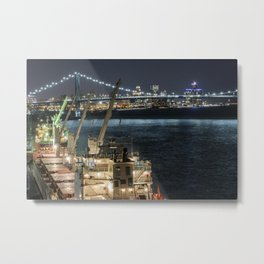 Detroit Skyline at the Docks Metal Print