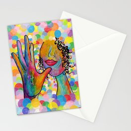 ASL for MOTHER on a Bright Bubble Background Stationery Cards