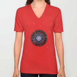 blue and red mandala Unisex V-Neck