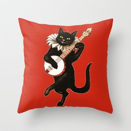 Black Cat for Halloween with Red Throw Pillow