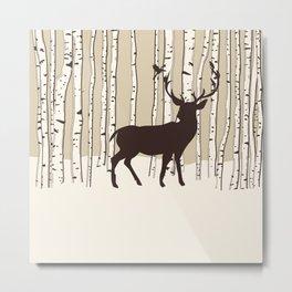 Deer in a birch forest Metal Print