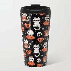 Halloween Kitties (Black) Metal Travel Mug