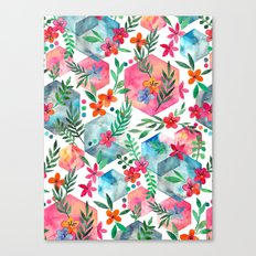 Whimsical Hexagon Garden on white Canvas Print