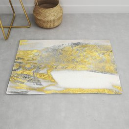 Silver and Gold Marble Design Rug