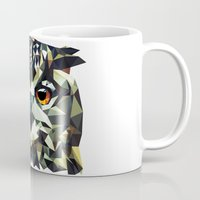 polygon Mugs featuring Polygon Owl by Andrew Mason
