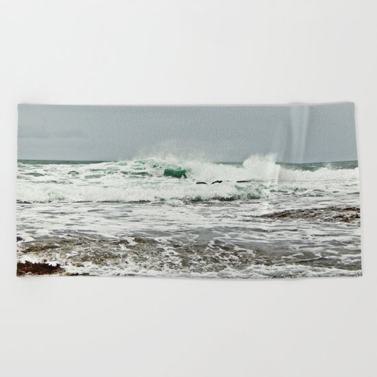Sea Breaks on the Tidal Shelf Beach Towel
