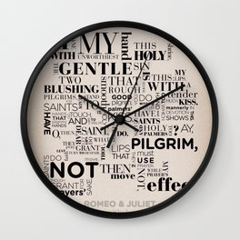 Romeo & Juliet typographic composition Wall Clock