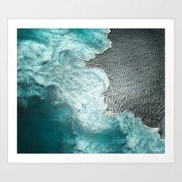 """Sea foam dancing on the blue ocean and gray sand"" Art Print"