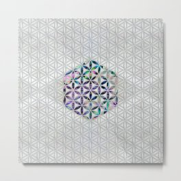 Flower of life Abalone shell on pearl Metal Print
