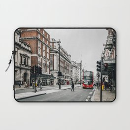 Red bus in Piccadilly street in London Laptop Sleeve