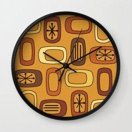 Midcentury MCM Rounded Rectangles Orange Wall Clock