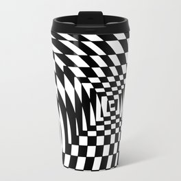 optical visual illusion thinking cloud of black and white chess board tunnel op art  Travel Mug