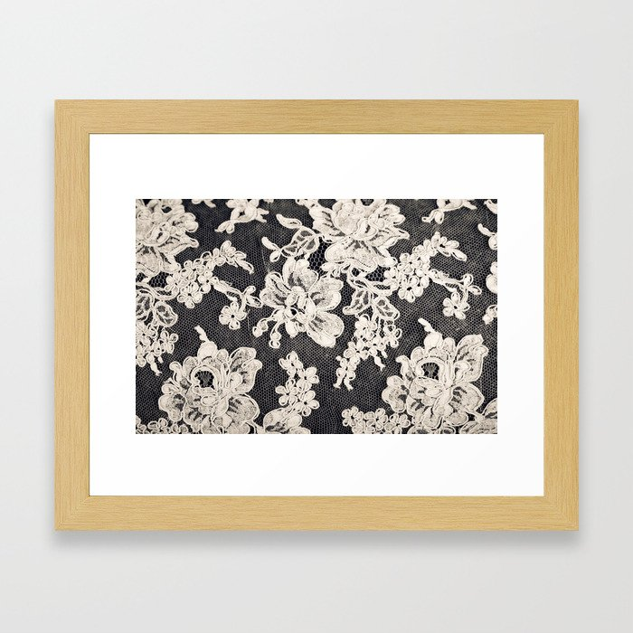black and white lace- Photograph of vintage lace Framed Art Print by ...
