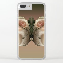Vanilla Butterfly Roses Clear iPhone Case