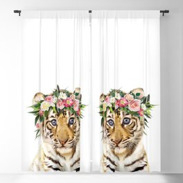 Baby Tiger With Flower Crown, Baby Animals Art Print By Synplus Blackout Curtain