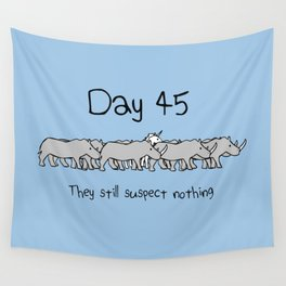 Day 45: They Still Suspect Nothing (Unicorn and Rhinos) Wall Tapestry