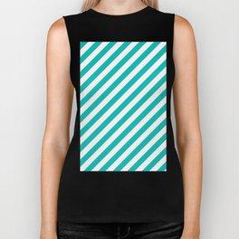 Diagonal Stripes (Tiffany Blue/White) Biker Tank