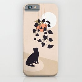 Hanging out with you forever - Cat, Plant and Moon iPhone Case