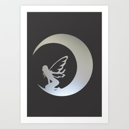 A Fairy on Moon Art Print