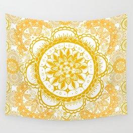 Orange Kaleidoscope Patterned Mandala Wall Tapestry