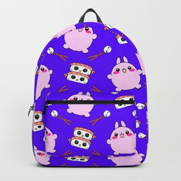 Cute funny Kawaii chibi little pink baby bunnies, happy sweet cheerful sushi with shrimp on top, rice balls and chopsticks purple pattern design. Backpack