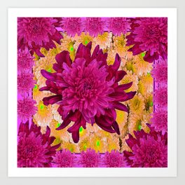 Stylized  Burgundy Purple & Yellow Chrysanthemums Floral Garden Art Print
