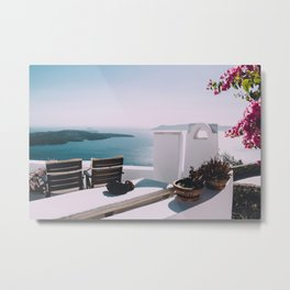 Relaxing Morning in Santorini Photography  Metal Print