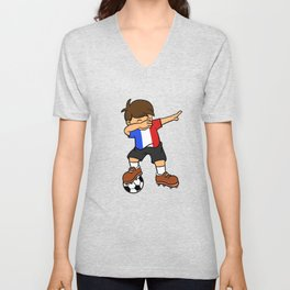 France Soccer Ball Dabbing Kid French Football 2018 Unisex V-Neck