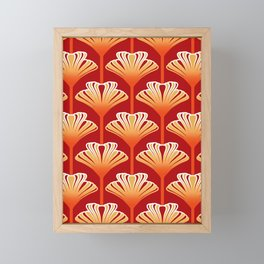 Art Deco Lily, Mandarin Orange and Gold Framed Mini Art Print