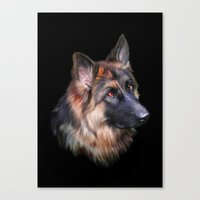 german shepherd Canvas Prints featuring German Shepherd by Julie Hoddinott