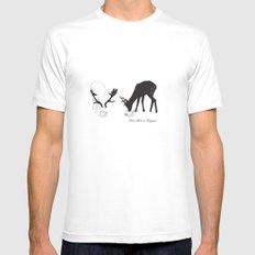 Deer love a Cuppa! Deer products, woodland illustration, animal lovers, deer gifts, Mens Fitted Tee White MEDIUM