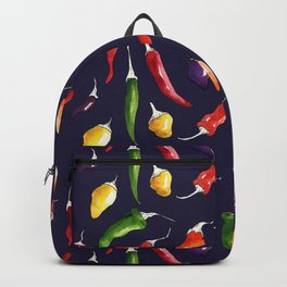 Ink and watercolor hot chillies pattern on navy background Backpack