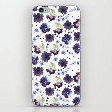 Watercolor decorative blue flowers heart iPhone Skin