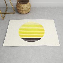Yellow Mid Century Modern Minimalist Scandinavian Colorful Stripes Geometric Pattern Round Circle Fr Rug