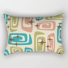 Mid Century Modern Cosmic Galaxies 436 Olive Blue and Dusty Rose Rectangular Pillow
