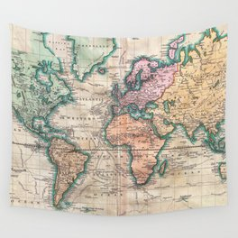 Vintage World Map 1801 Wall Tapestry