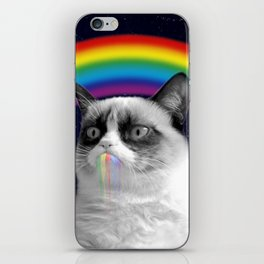 cat all over galaxy rainbow puke Space Crazy Cats iPhone Skin