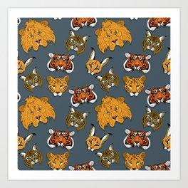 wild cats masks Art Print